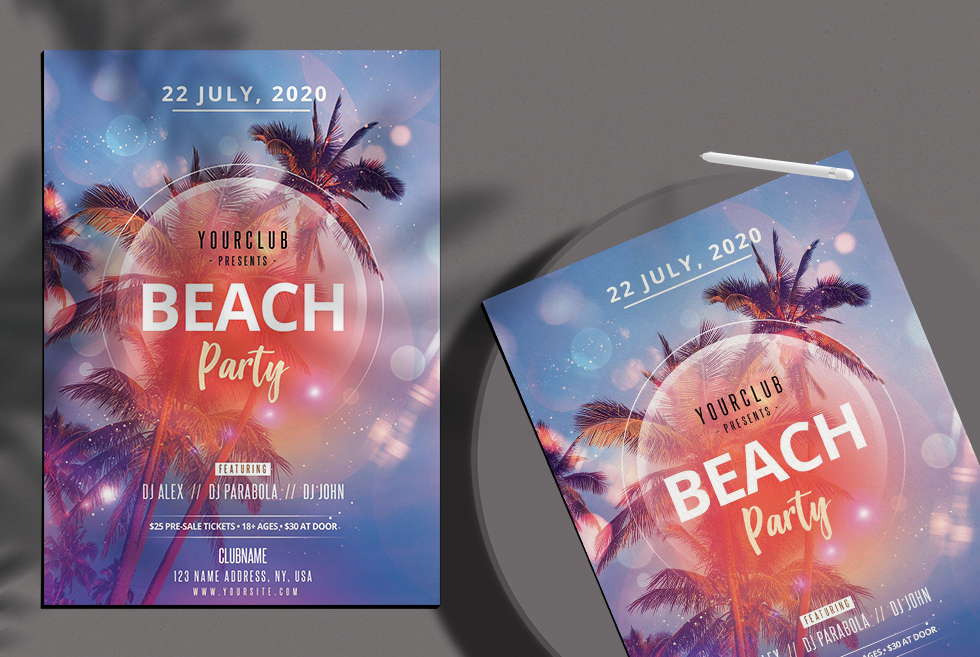 Beach Party Free PSD Flyer Templates
