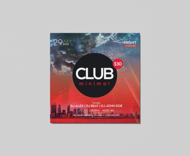Club Minimal Free PSD Flyer Template
