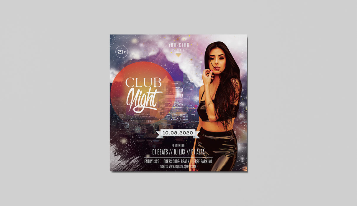 Club Night Free PSD Flyer Template