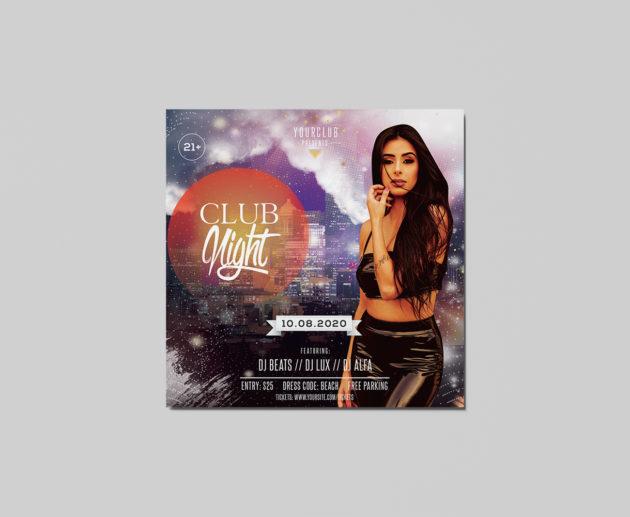 Club Night Free PSD Flyer Template