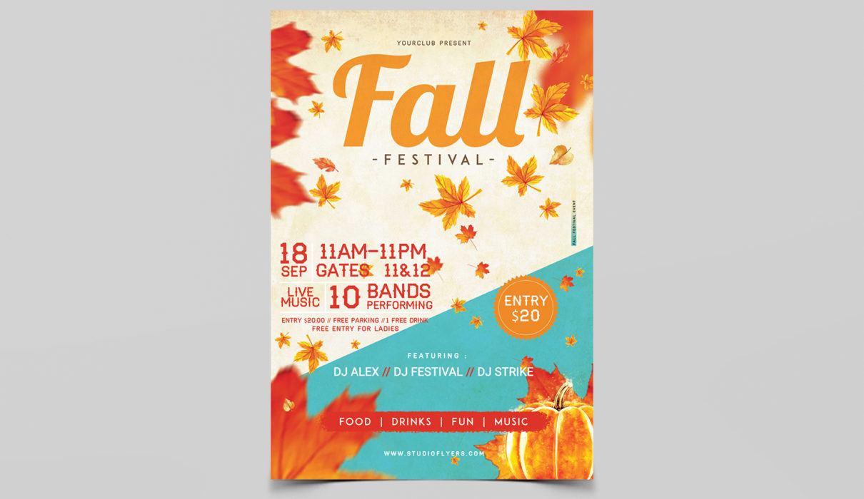 Fall Festival Flyer Free PSD Template