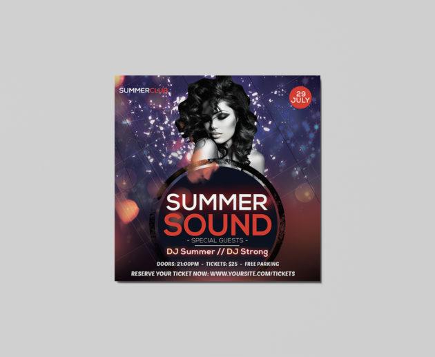 Free Summer Sound Insta Post PSD Flyer Template