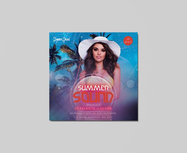 Free Summer Sound PSD Flyer Templates
