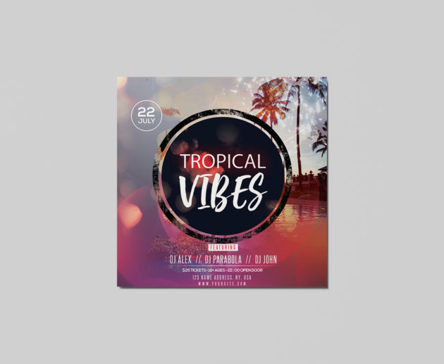 Free Tropical Vibes Insta PSD Flyer Template