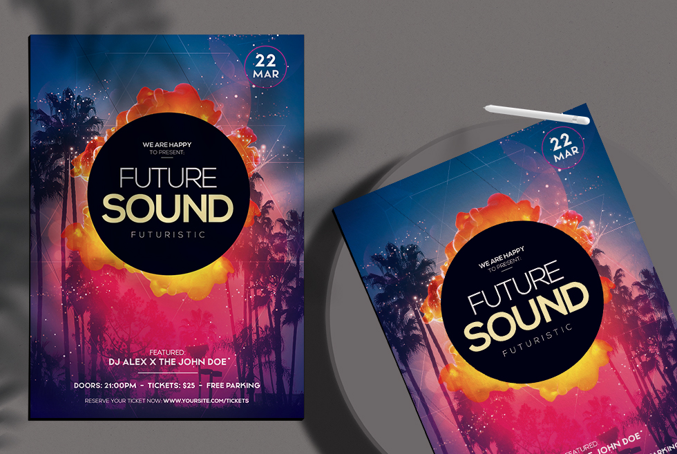 Future Sound Free PSD Flyer Templates