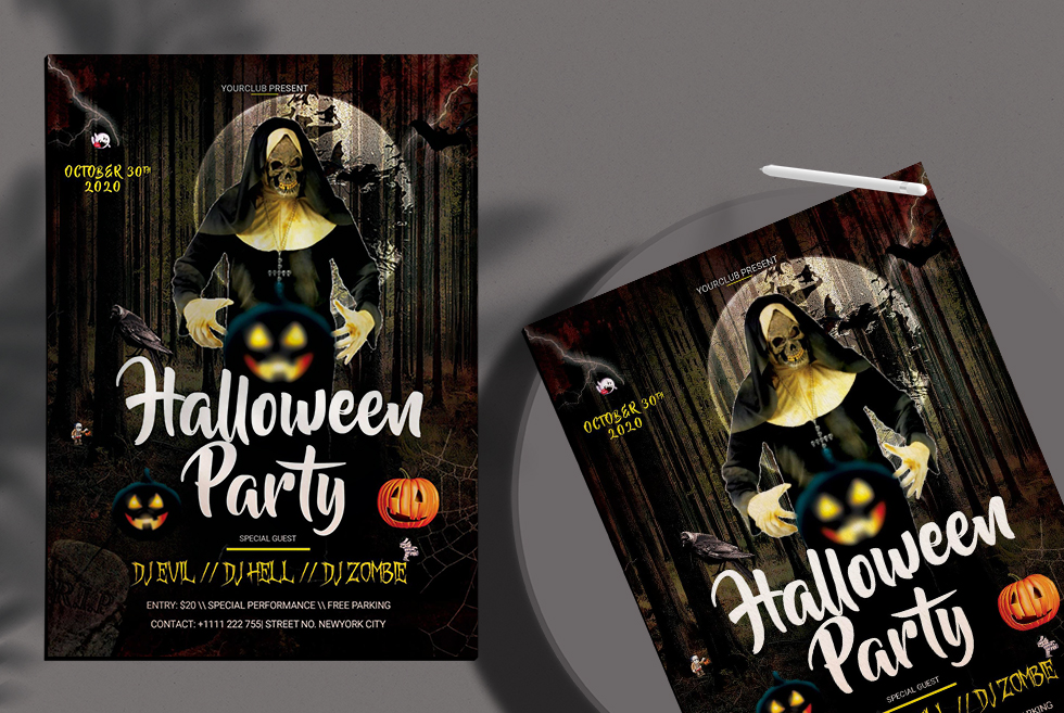 Halloween Party PSD Flyer Free Templates