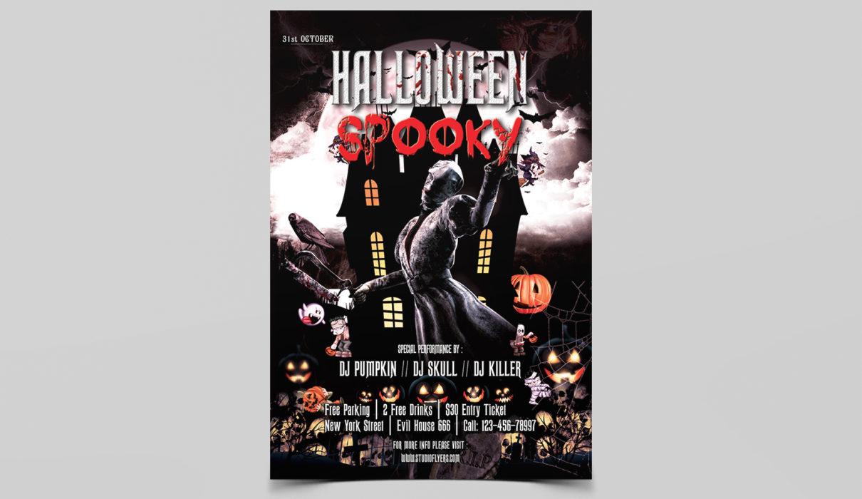 Halloween Spooky Free PSD Flyer Template
