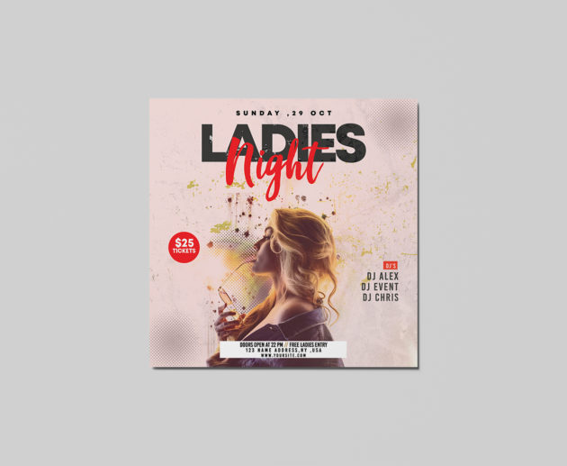 Ladies Night PSD Free Flyer Templates