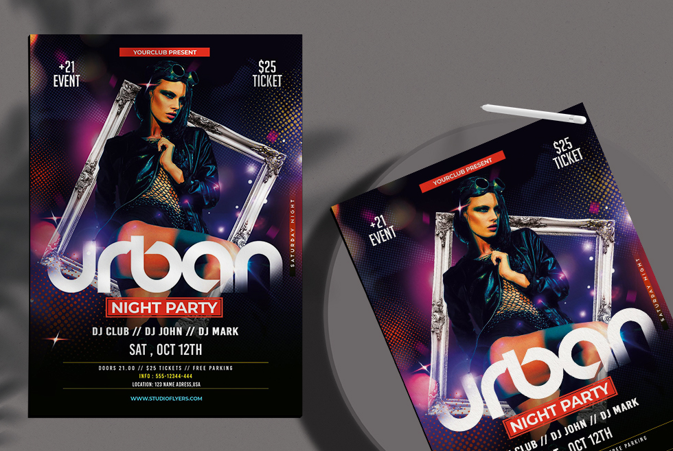 Ladies Urban Night Party Free PSD Flyer Template