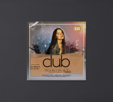 Minimal Club Insta Free PSD Flyer Template