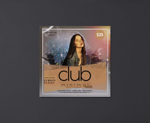 Minimal Club Insta Free PSD Flyer Template