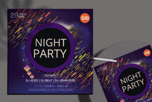 Night Party Insta Square Free PSD Flyer Template