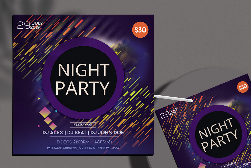 Night Party Insta Square Free PSD Flyer