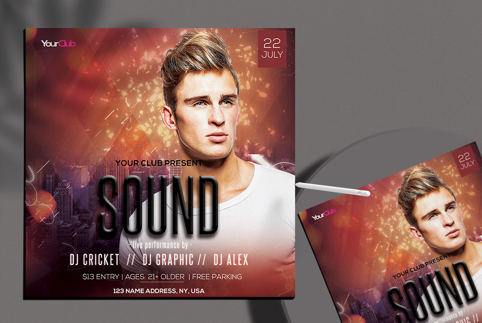 Sound Insta Free PSD Flyer Template