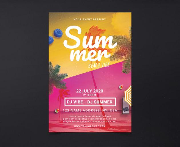Summer Beach Vibe Free PSD Flyer