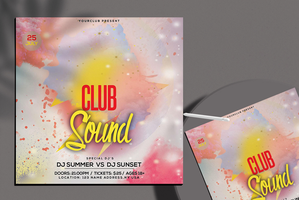 Summer Color Free PSD Flyer