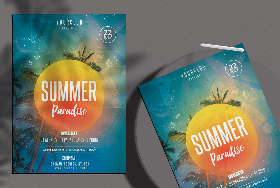 Summer Paradise Free PSD Flyer Template