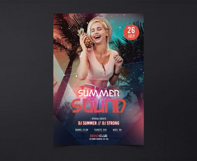 Summer Sound Free PSD Flyer Template