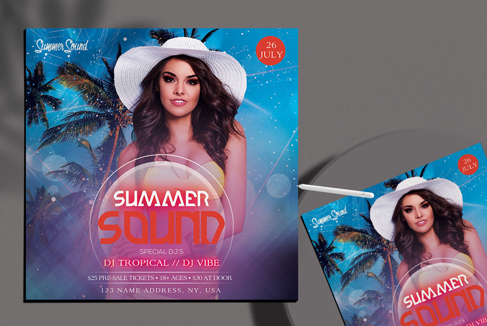 Summer Sound Free PSD Flyer Templates