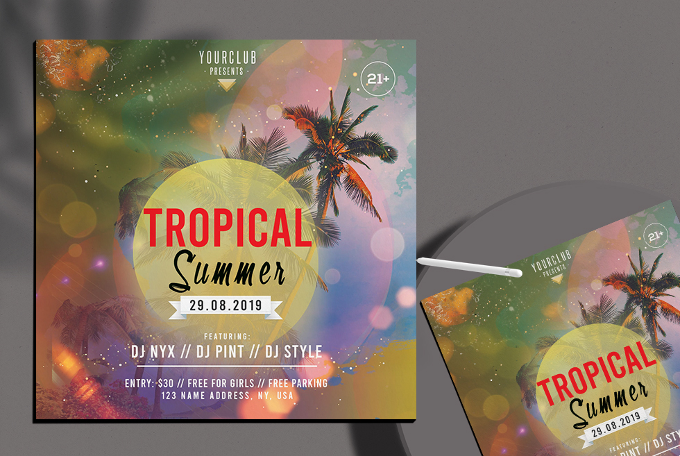 Summer Tropical Free PSD Flyer
