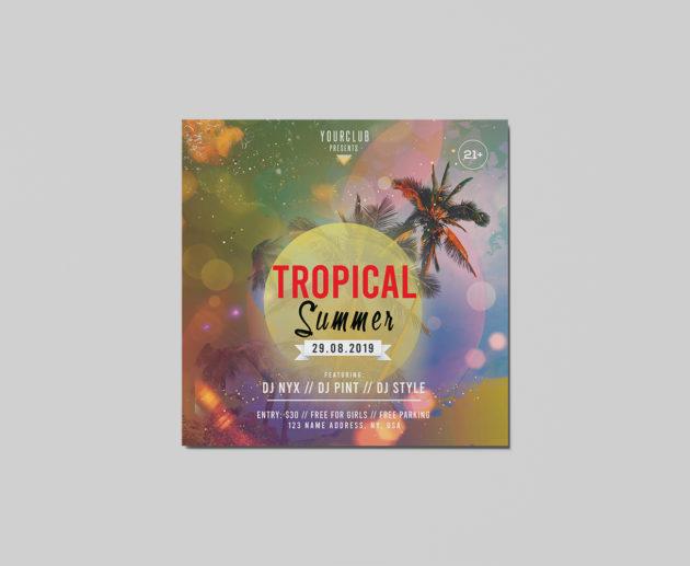 Summer Tropical Free PSD Flyer