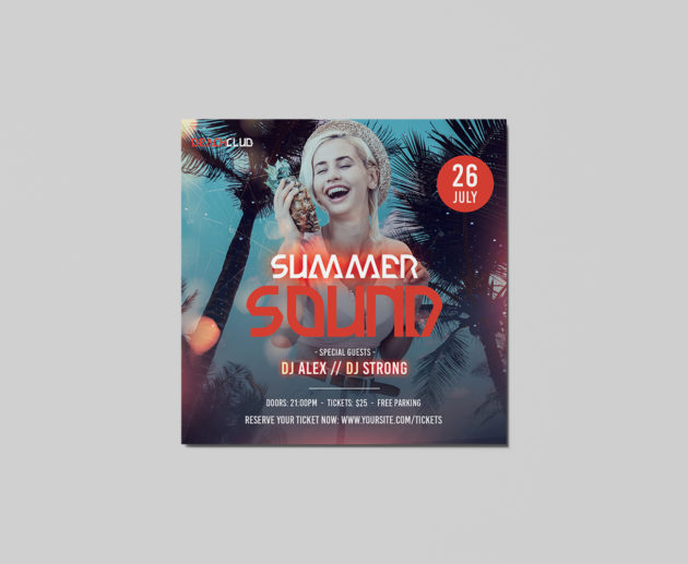 Tropical Sound Insta Free PSD Flyer Template