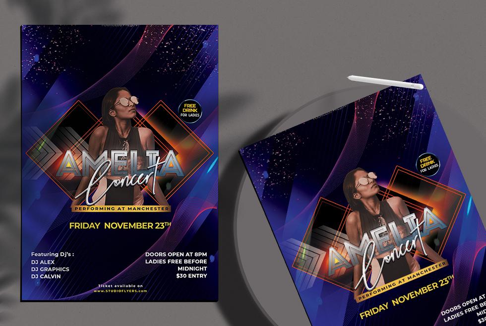 Amelia Concert Free PSD Flyer Templates