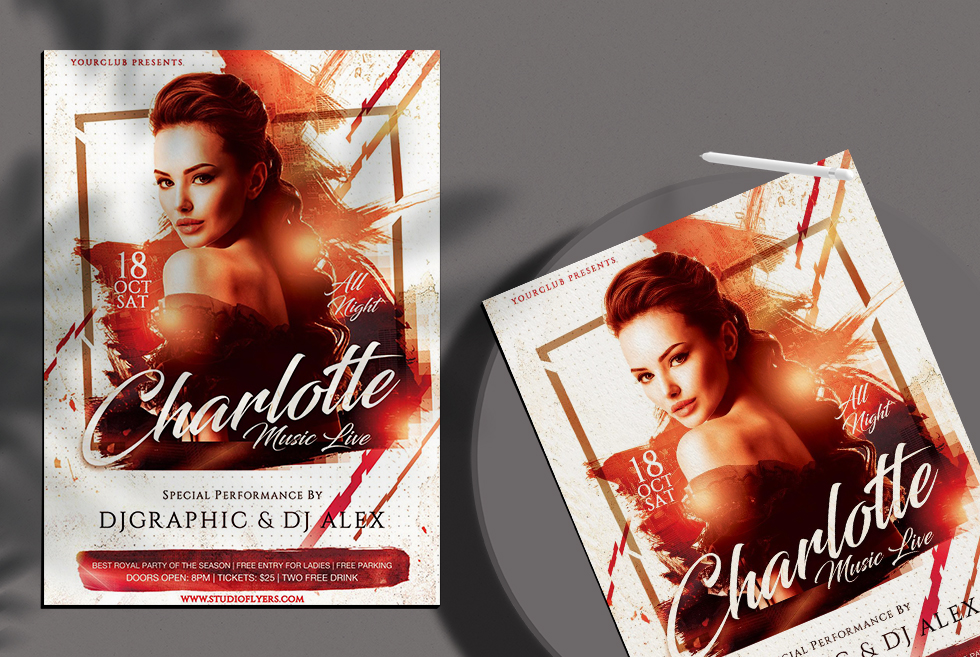 Charlotte Music Live Free PSD Flyer Templates
