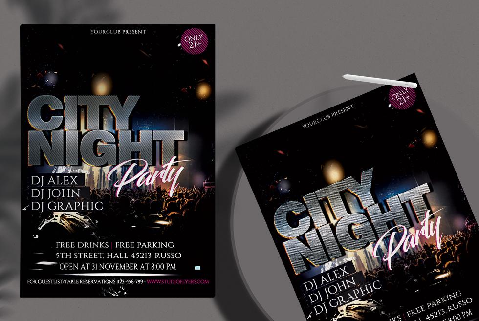 City Night Free PSD Flyer Templates