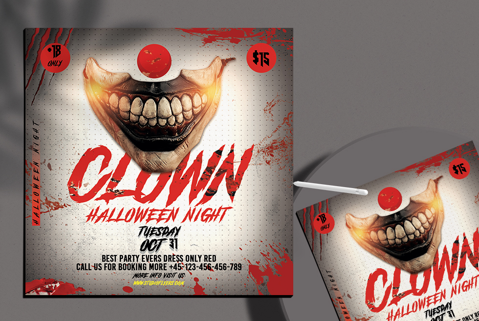 Clown Halloween Night Free PSD Flyer Template