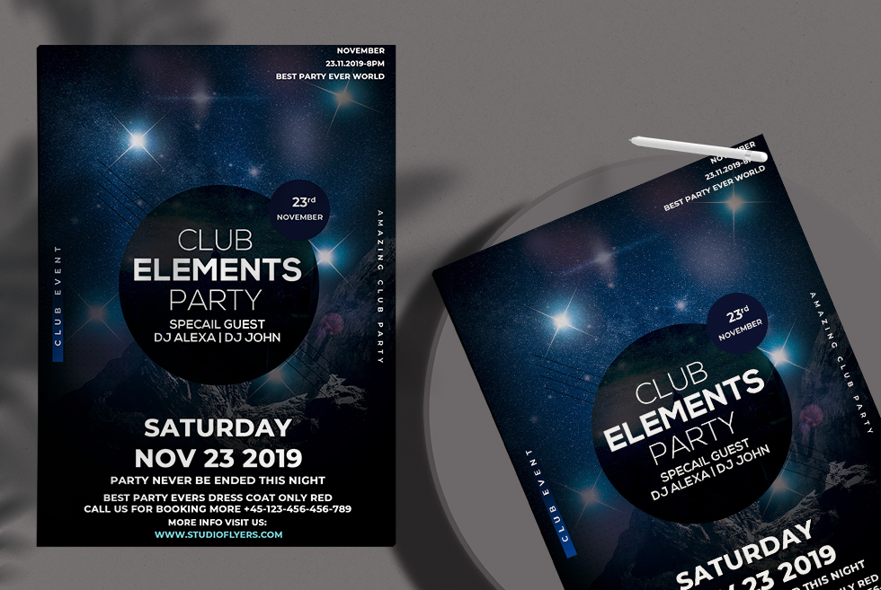 Club Element Party Free PSD Flyer Template