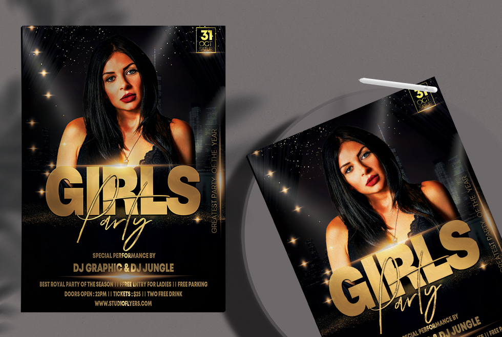 Elegant Girls Party Night Free PSD Flyer Template