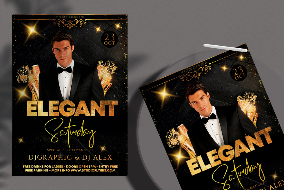 Elegant Saturday Party Free PSD Flyer Template