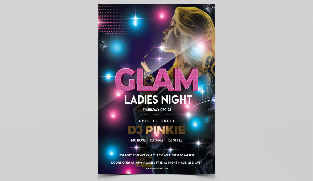 Glam Ladies Night Free PSD Flyer Template