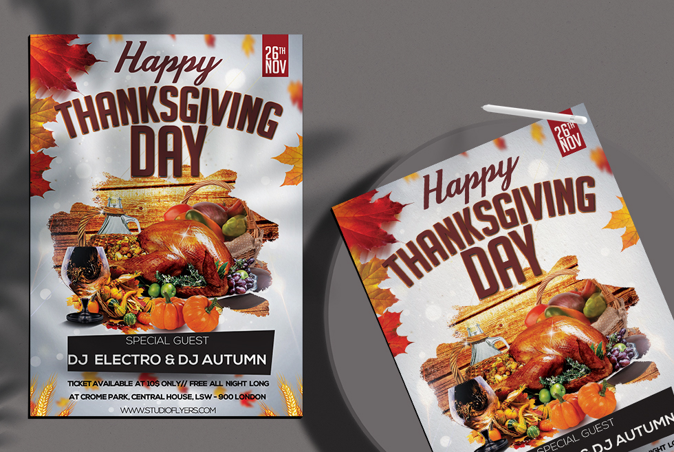 Happy Thanksgiving Day Free PSD Flyer Templates