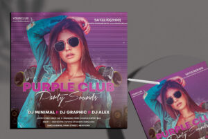 Purple Party Sound Free PSD Flyer Template