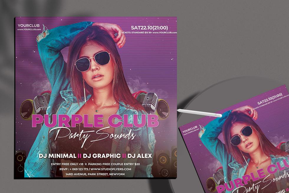 Purple Party Sound Free PSD Flyer