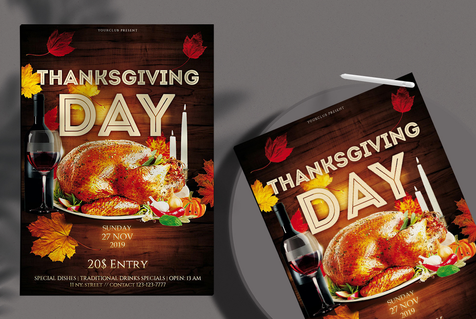 Thanksgiving Day Free PSD Flyer Template