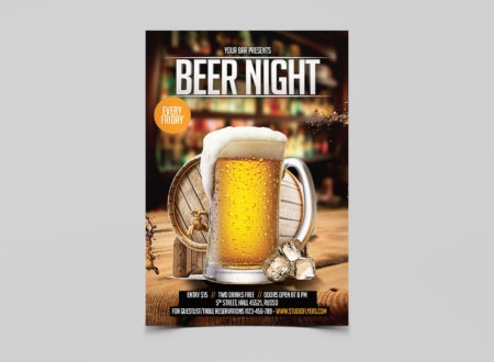 Beer Night Free PSD Flyer Template