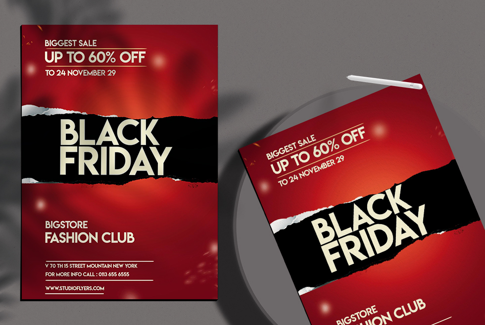 Black Friday Super Sale Free PSD Flyer Template
