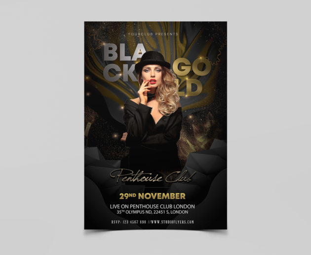 Black and Gold Free PSD Flyer Template