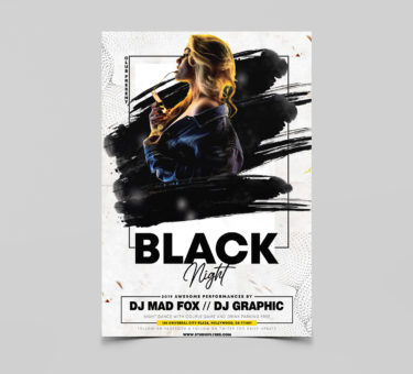 Black night party Free PSD Flyer Templates