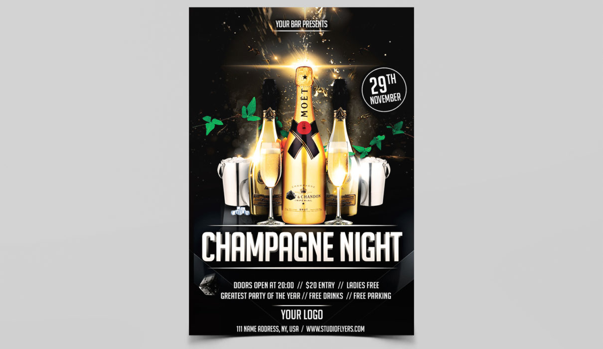 Champagne Night Free PSD Flyer Template
