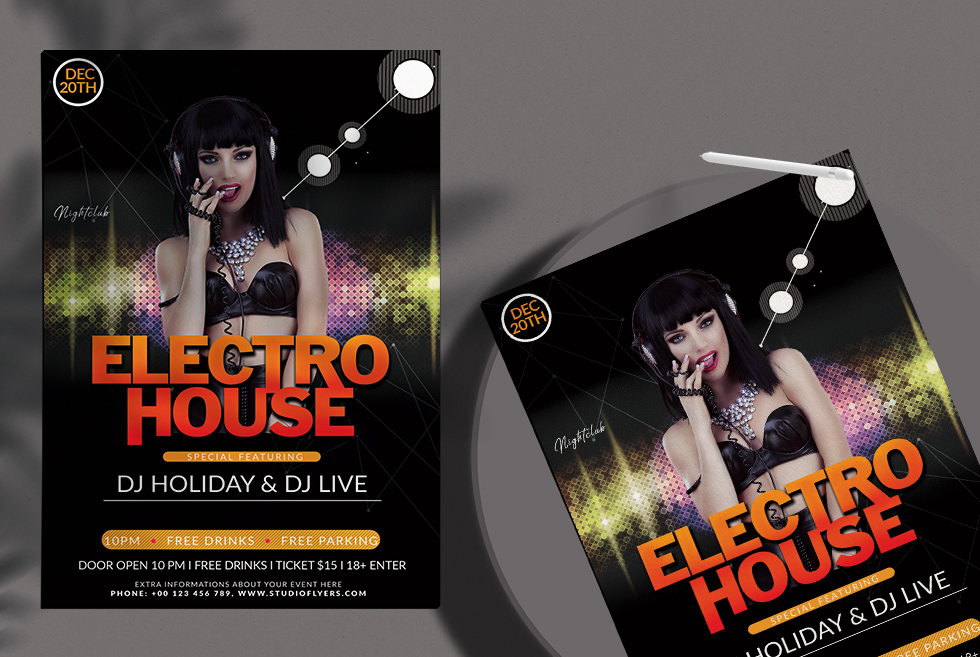 Electro House Free PSD Flyer Template