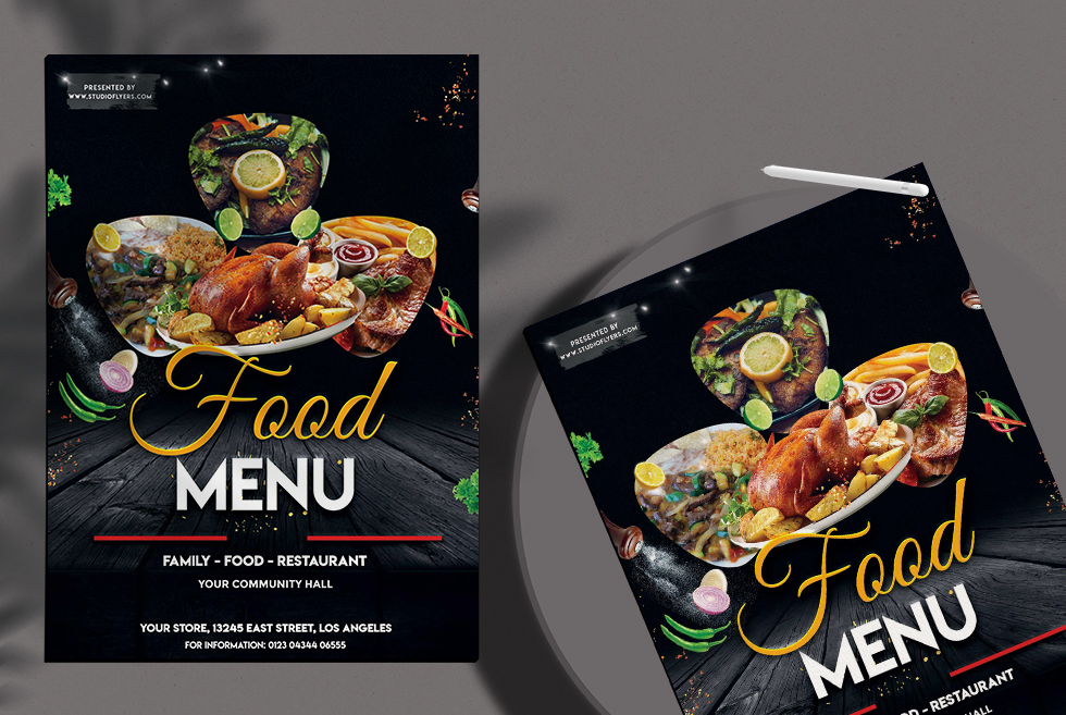 Food Menu Free PSD Flyer Template