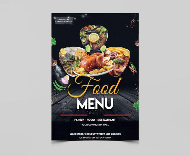 Food Menu Free PSD Flyer Template