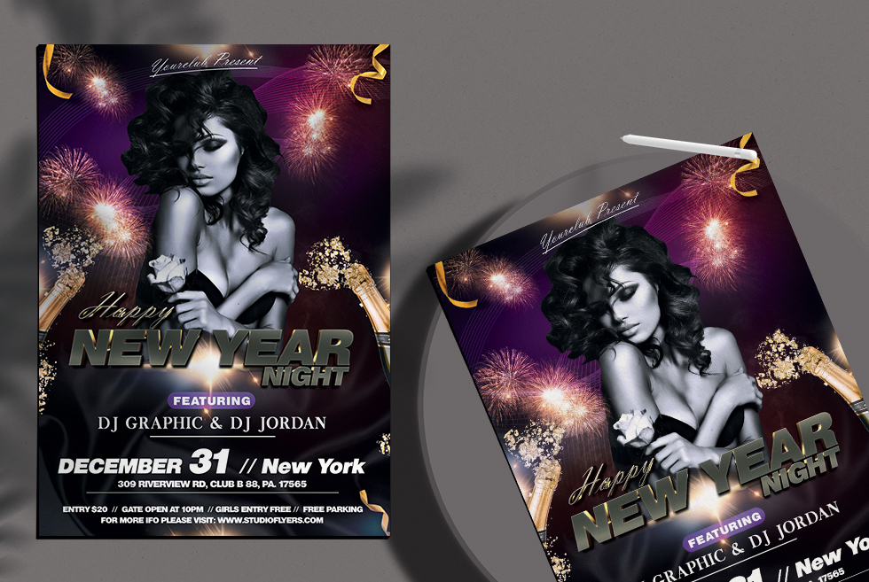 Happy New Year Night Free PSD Flyer Template