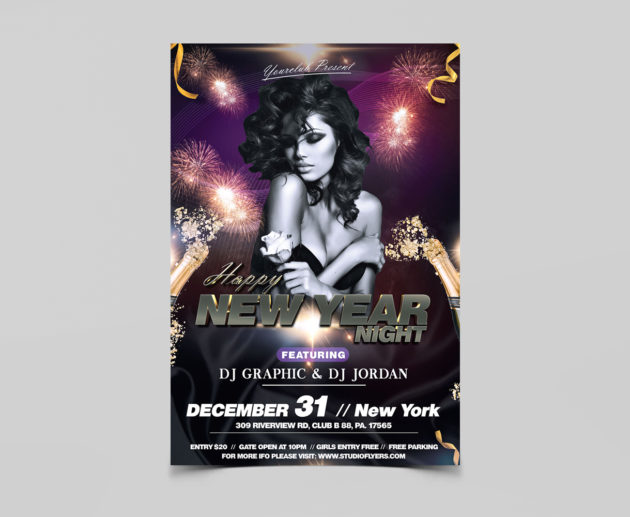 Happy New Year Night Free PSD Flyer Templates