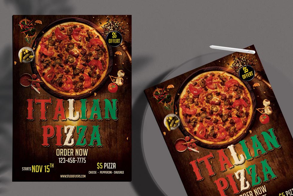 Italian Pizza Free PSD Flyer Template