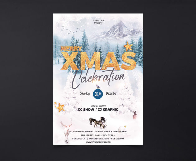 Merry XMas Celebration Free PSD Flyer Template